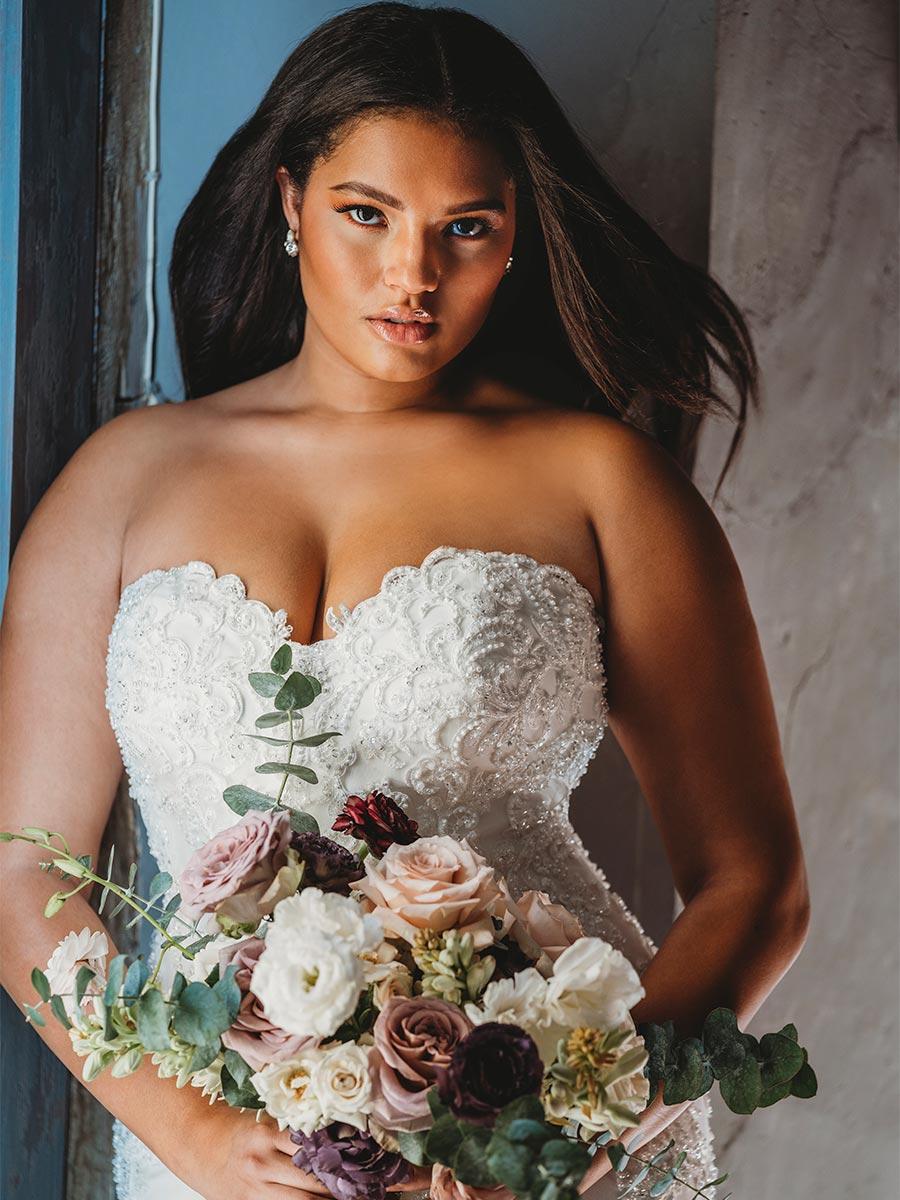 Plus Size Bride - Strapless Wedding Gown